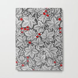 Art Nouveau Strawberries and Leaves, Silver Gray Metal Print