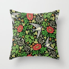 Dandelions and Swifts Throw Pillow