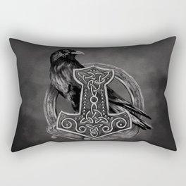 Mjolnir - The hammer of Thor and raven Rectangular Pillow