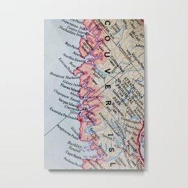 Vintage Vancouver Island Map Metal Print