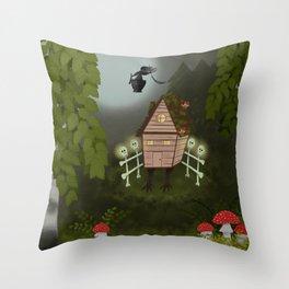 Baba Yaga Forest Folk Art Throw Pillow