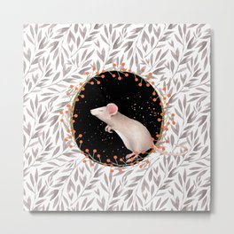 Beautiful nosey Mouse with flower background- Animal - mice - flowers Metal Print