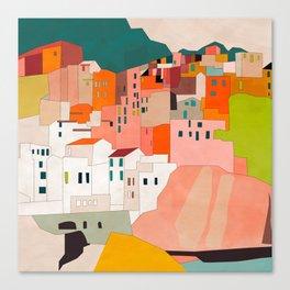 italy coast houses minimal abstract painting Canvas Print