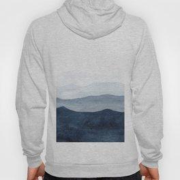 Indigo Abstract Watercolor Mountains Hoodie