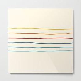 Bright Classic Abstract Minimal 70s Rainbow Retro Summer Style Stripes #1 Metal Print