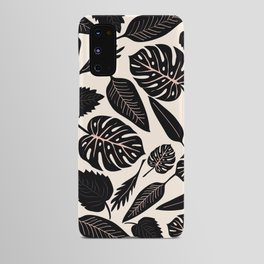 Monstera pattern in black and pastel Android Case
