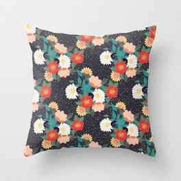 Elegant hand drawn floral and confetti design Throw Pillow