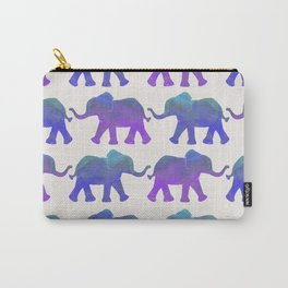Follow The Leader - Painted Elephants in Royal Blue, Purple, & Mint Carry-All Pouch