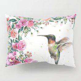 Hummingbird and Flowers Watercolor Animals Kissenbezug