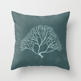 Gorgonia sea fan coral pattern (Mint and Pine) Throw Pillow