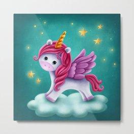Cute unicorn with wings Metal Print