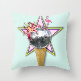DISCO ICE CREAM Throw Pillow