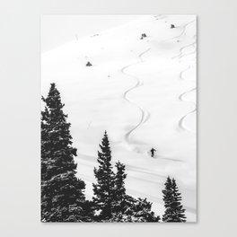 Backcountry Skier // Fresh Powder Snow Mountain Ski Landscape Black and White Photography Vibes Leinwanddruck