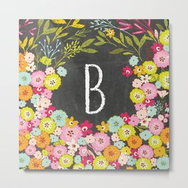 B botanical monogram. Letter initial with colorful flowers on a chalkboard background Metal Print