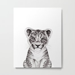 Baby Lion Watercolor Black & White, Baby Animals by lanakat Metal Print