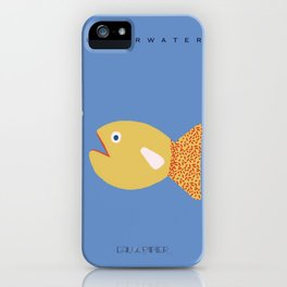 Minimalistic Blue and Yellow Fish Digital Illustration, by Eau de Papier Illustration Studio and Design iPhone Case