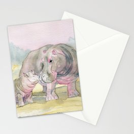 Colorful Mom and Baby Hippo Stationery Cards