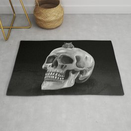 Little mouse and skull - BW Rug