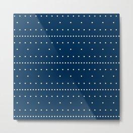 Aligned beige dots over dark blue Metal Print