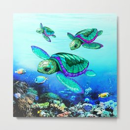 Sea Turtles Dance Metal Print