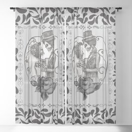 Skeleton Couple Marriage Dance Sheer Curtain