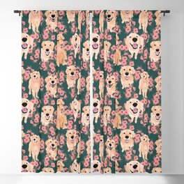 Golden Retriever and flowers on green Blackout Curtain