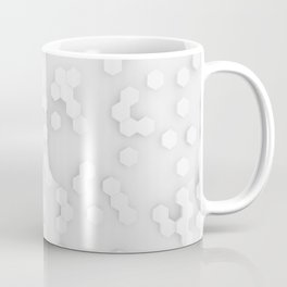 White and gray Abstract Hexagon Shapes Coffee Mug