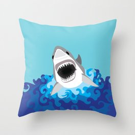 Great White Shark Attack Throw Pillow
