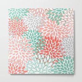 Floral Prints, Coral and Mint Green, Printing Art Metal Print