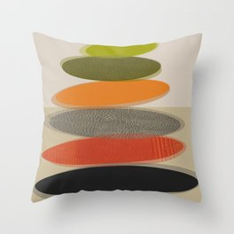 Mid-Century Modern Ovals Abstract Throw Pillow
