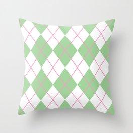 Green Argyle Throw Pillow