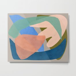 Shapes and Layers no.30 - Large Organic Shapes Blue Pink Green Gray Metal Print