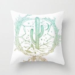Desert Cactus Dreamcatcher Turquoise Coral Gradient on White Throw Pillow