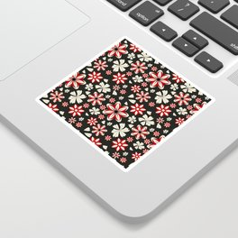 Floral pattern with leaves and flowers doodling style Sticker