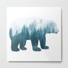 Misty Forest Bear - Turqoise Metal Print