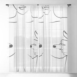 Hiding nipples, Woman In One Line, Fashion Printable, nude lady showing middle finger Sheer Curtain