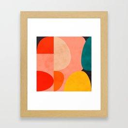 geometry shape mid century organic blush curry teal Gerahmter Kunstdruck