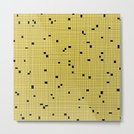 Yellow and Black Grid - Missing Pieces Metal Print