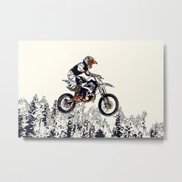"""High Flyer"" Motocross Racer Metal Print"