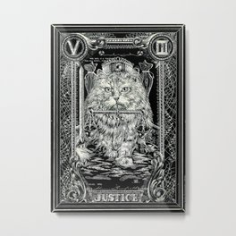 JUSTICE of Tarot Cat Metal Print