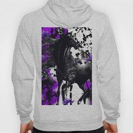 HORSE BLACK AND PURPLE THUNDER INK SPLASH Hoody