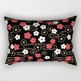 Black Sakura Kimono Pattern Rectangular Pillow
