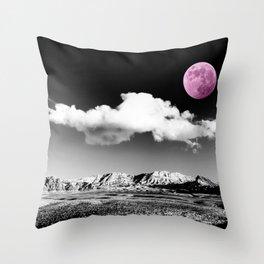 Black Desert Sky & Fuchsia Moon // Red Rock Canyon Las Vegas Mojave Lune Celestial Mountain Range Throw Pillow
