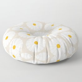 Minimal Botanical Pattern - Daisies Floor Pillow