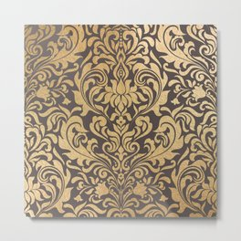 Gold swirls damask #9 Metal Print