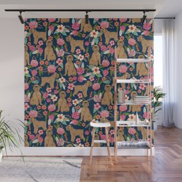 Brussels Griffon florals pattern for dog lovers custom pet friendly gifts for all dog breeds Wall Mural