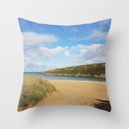 Crantock Beach, Cornwall Throw Pillow