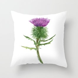Thistle Watercolor Painting Throw Pillow
