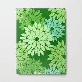 Modern Floral Kimono Print, Lime Green Metal Print