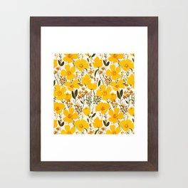 Yellow roaming wildflowers Framed Art Print